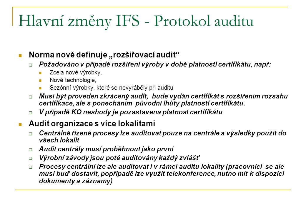 """Hlavní změny IFS - Protokol auditu Norma nově definuje """"rozšiřovací audit""""  Požadováno v případě rozšíření výroby v době platnosti certifikátu, např:"""