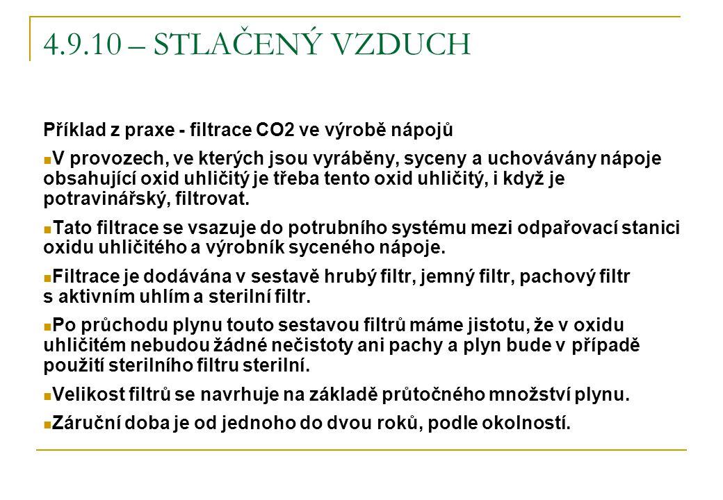 4.9.10 – STLAČENÝ VZDUCH Příklad z praxe - filtrace CO2 ve výrobě nápojů V provozech, ve kterých jsou vyráběny, syceny a uchovávány nápoje obsahující