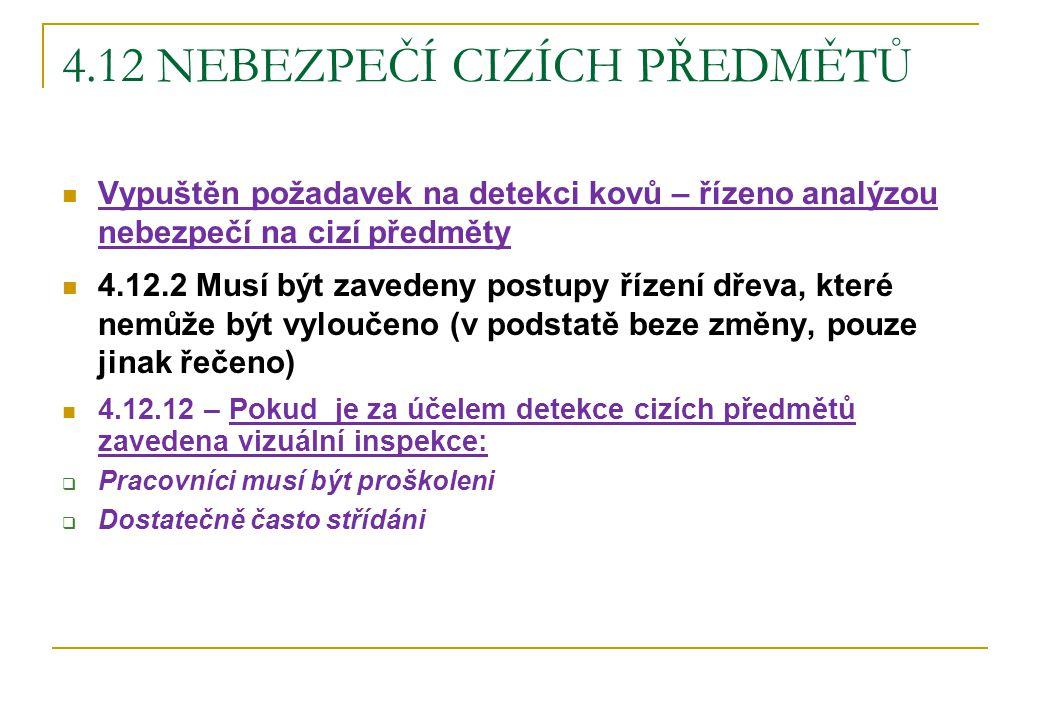 4.12 NEBEZPEČÍ CIZÍCH PŘEDMĚTŮ Vypuštěn požadavek na detekci kovů – řízeno analýzou nebezpečí na cizí předměty 4.12.2 Musí být zavedeny postupy řízení