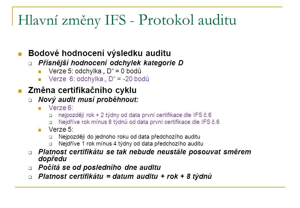 """Hlavní změny IFS - Protokol auditu Bodové hodnocení výsledku auditu  Přísnější hodnocení odchylek kategorie D Verze 5: odchylka """" D"""" = 0 bodů Verze 6"""