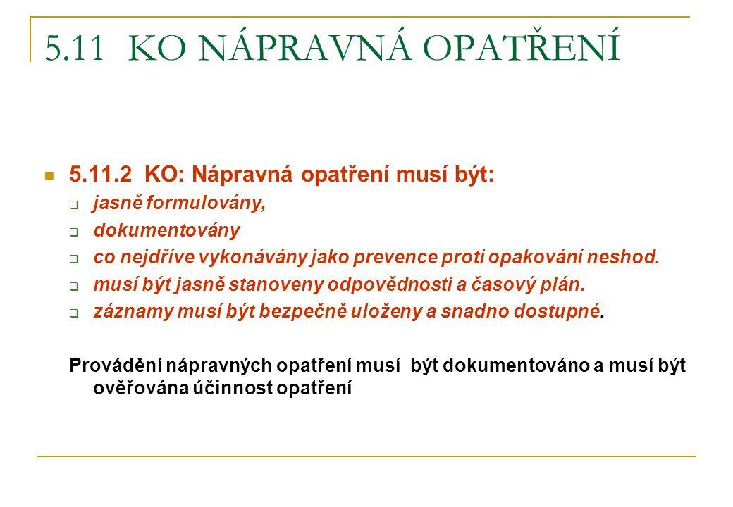 5.11 KO NÁPRAVNÁ OPATŘENÍ 5.11.2 KO: Nápravná opatření musí být:  jasně formulovány,  dokumentovány  co nejdříve vykonávány jako prevence proti opa