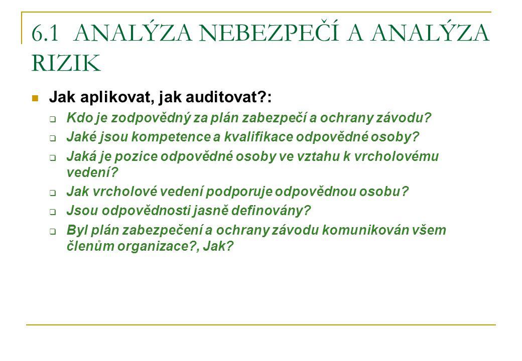 6.1 ANALÝZA NEBEZPEČÍ A ANALÝZA RIZIK Jak aplikovat, jak auditovat?:  Kdo je zodpovědný za plán zabezpečí a ochrany závodu?  Jaké jsou kompetence a