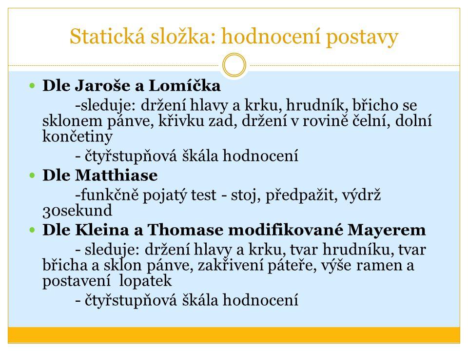 Statická složka: hodnocení postavy Dle Jaroše a Lomíčka -sleduje: držení hlavy a krku, hrudník, břicho se sklonem pánve, křivku zad, držení v rovině č