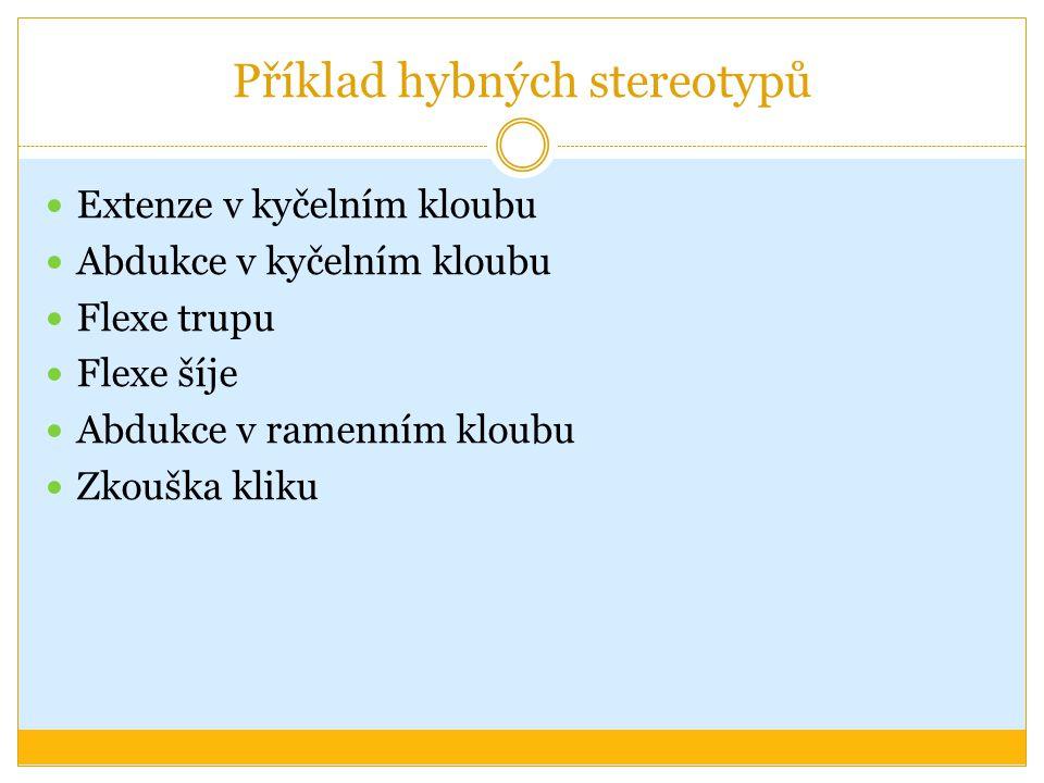 Příklad hybných stereotypů Extenze v kyčelním kloubu Abdukce v kyčelním kloubu Flexe trupu Flexe šíje Abdukce v ramenním kloubu Zkouška kliku