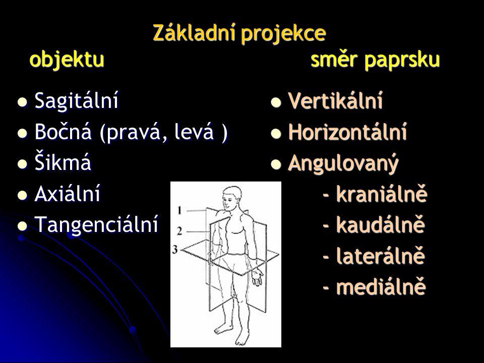 Základní projekce objektu směr paprsku Základní projekce objektu směr paprsku Sagitální Sagitální Bočná (pravá, levá ) Bočná (pravá, levá ) Šikmá Šikmá Axiální Axiální Tangenciální Tangenciální Vertikální Vertikální Horizontální Horizontální Angulovaný Angulovaný - kraniálně - kraniálně - kaudálně - kaudálně - laterálně - laterálně - mediálně - mediálně