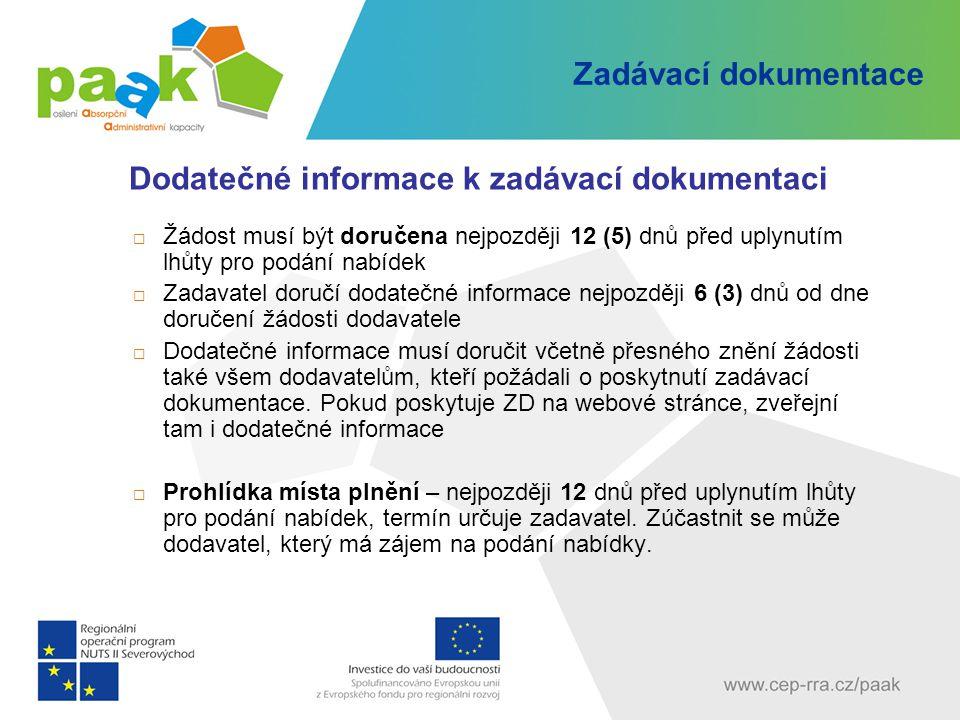 Zadávací dokumentace Dodatečné informace k zadávací dokumentaci  Žádost musí být doručena nejpozději 12 (5) dnů před uplynutím lhůty pro podání nabíd