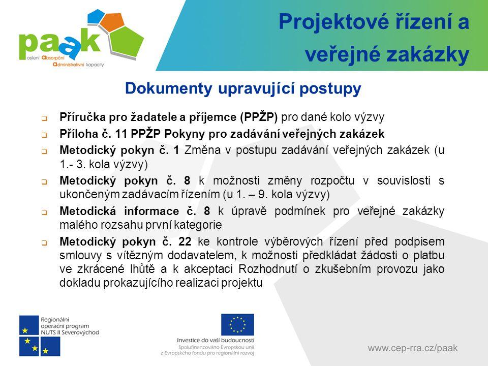 Projektové řízení a veřejné zakázky Dokumenty upravující postupy  Příručka pro žadatele a příjemce (PPŽP) pro dané kolo výzvy  Příloha č.