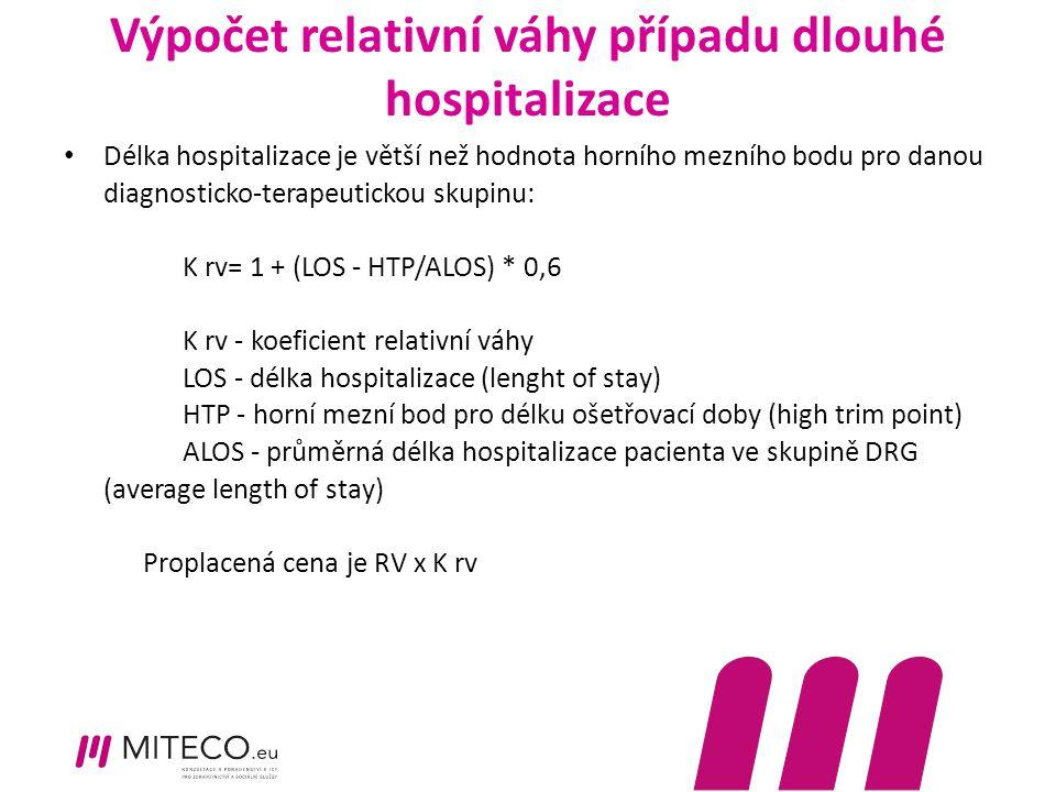 Výpočet relativní váhy případu dlouhé hospitalizace Délka hospitalizace je větší než hodnota horního mezního bodu pro danou diagnosticko-terapeutickou