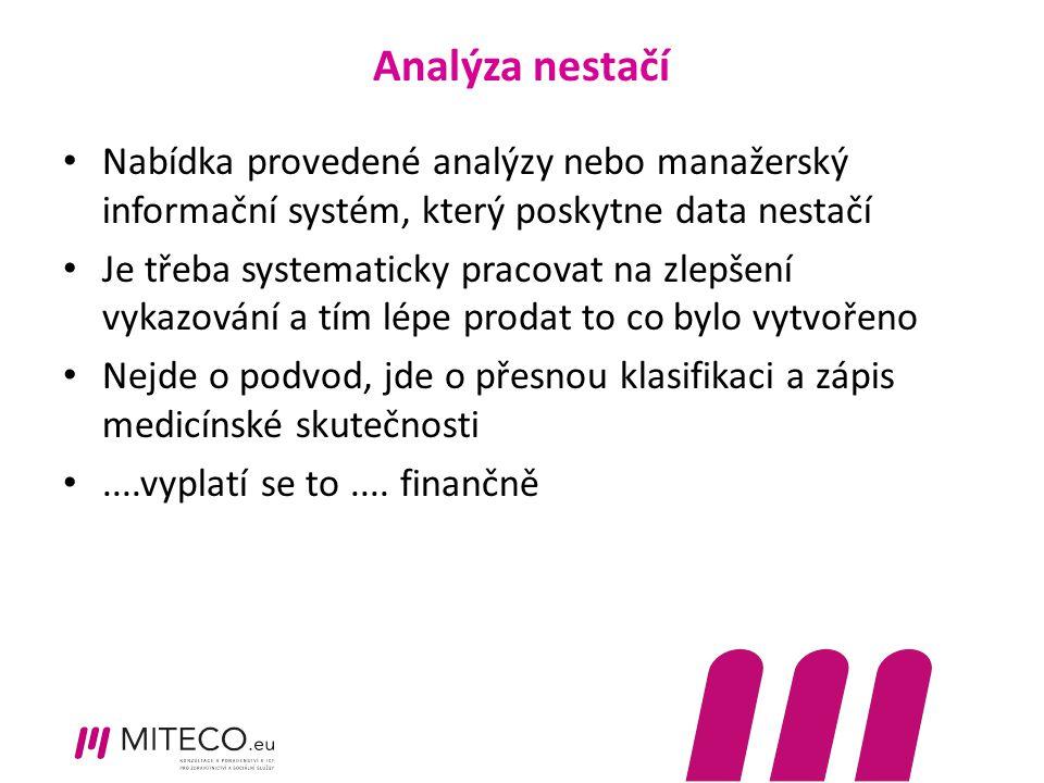 Analýza nestačí Nabídka provedené analýzy nebo manažerský informační systém, který poskytne data nestačí Je třeba systematicky pracovat na zlepšení vy