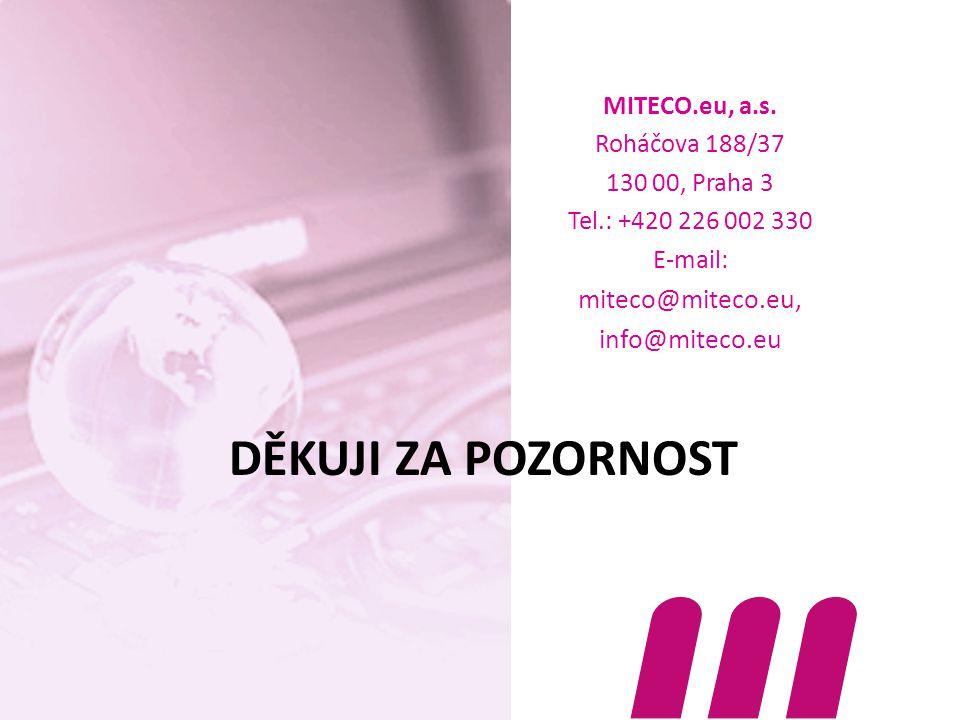 DĚKUJI ZA POZORNOST MITECO.eu, a.s. Roháčova 188/37 130 00, Praha 3 Tel.: +420 226 002 330 E-mail: miteco@miteco.eu, info@miteco.eu
