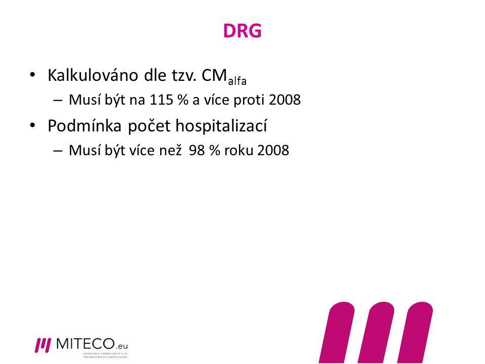 DRG Kalkulováno dle tzv. CM alfa – Musí být na 115 % a více proti 2008 Podmínka počet hospitalizací – Musí být více než 98 % roku 2008