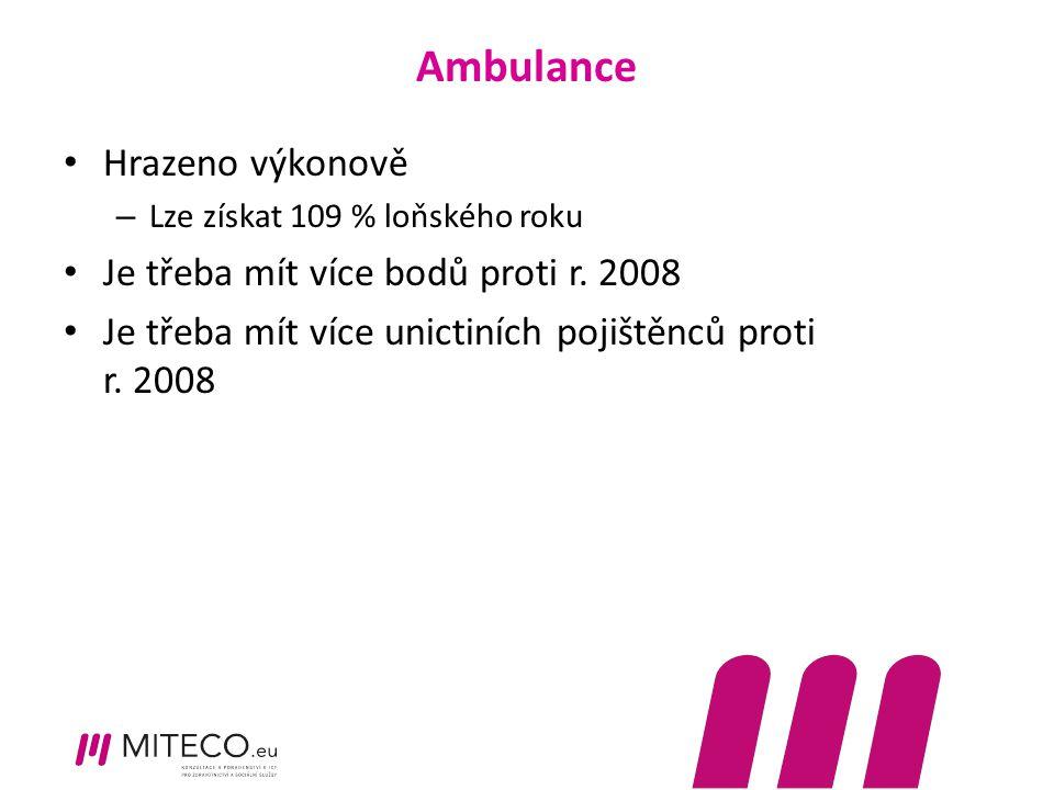 Ambulance Hrazeno výkonově – Lze získat 109 % loňského roku Je třeba mít více bodů proti r. 2008 Je třeba mít více unictiních pojištěnců proti r. 2008