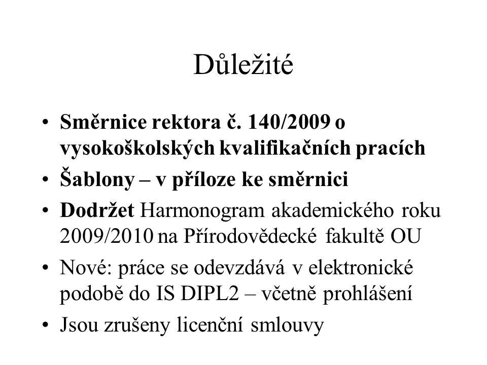 Důležité Směrnice rektora č. 140/2009 o vysokoškolských kvalifikačních pracích Šablony – v příloze ke směrnici Dodržet Harmonogram akademického roku 2