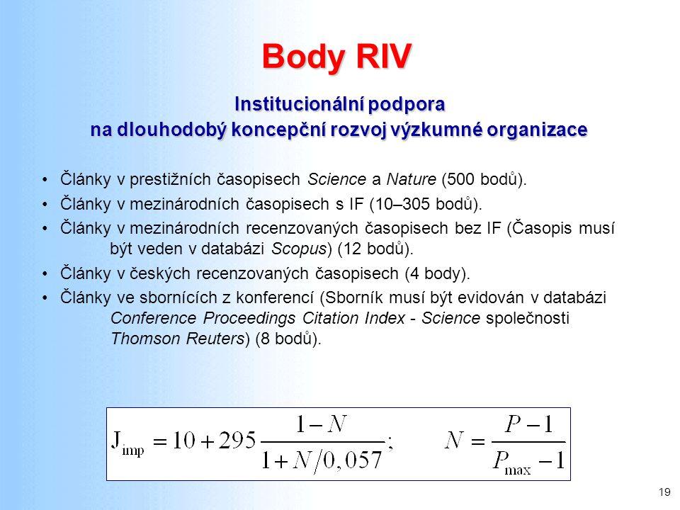 19 Body RIV Články v prestižních časopisech Science a Nature (500 bodů). Články v mezinárodních časopisech s IF (10–305 bodů). Články v mezinárodních