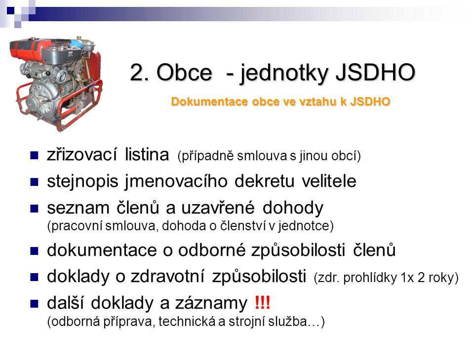2. Obce - jednotky JSDHO zřizovací listina (případně smlouva s jinou obcí) stejnopis jmenovacího dekretu velitele seznam členů a uzavřené dohody (prac