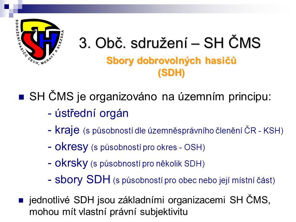 3. Obč. sdružení – SH ČMS Sbory dobrovolných hasičů (SDH) SH ČMS je organizováno na územním principu: - ústřední orgán - kraje (s působností dle územn