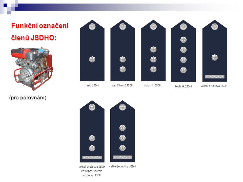 Funkční označení členů JSDHO: (pro porovnání)