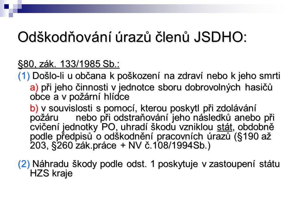 Odškodňování úrazů členů JSDHO: §80, zák. 133/1985 Sb.: (1) Došlo-li u občana k poškození na zdraví nebo k jeho smrti a) při jeho činnosti v jednotce
