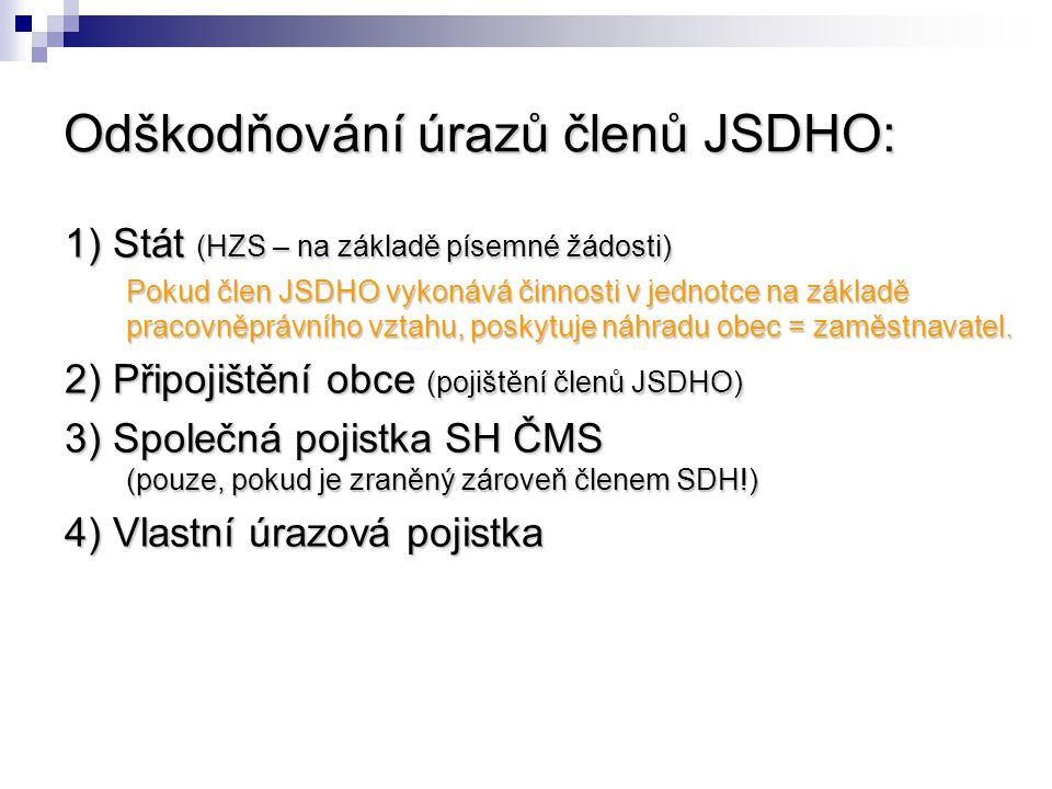 Odškodňování úrazů členů JSDHO: 1) Stát (HZS – na základě písemné žádosti) Pokud člen JSDHO vykonává činnosti v jednotce na základě pracovněprávního v