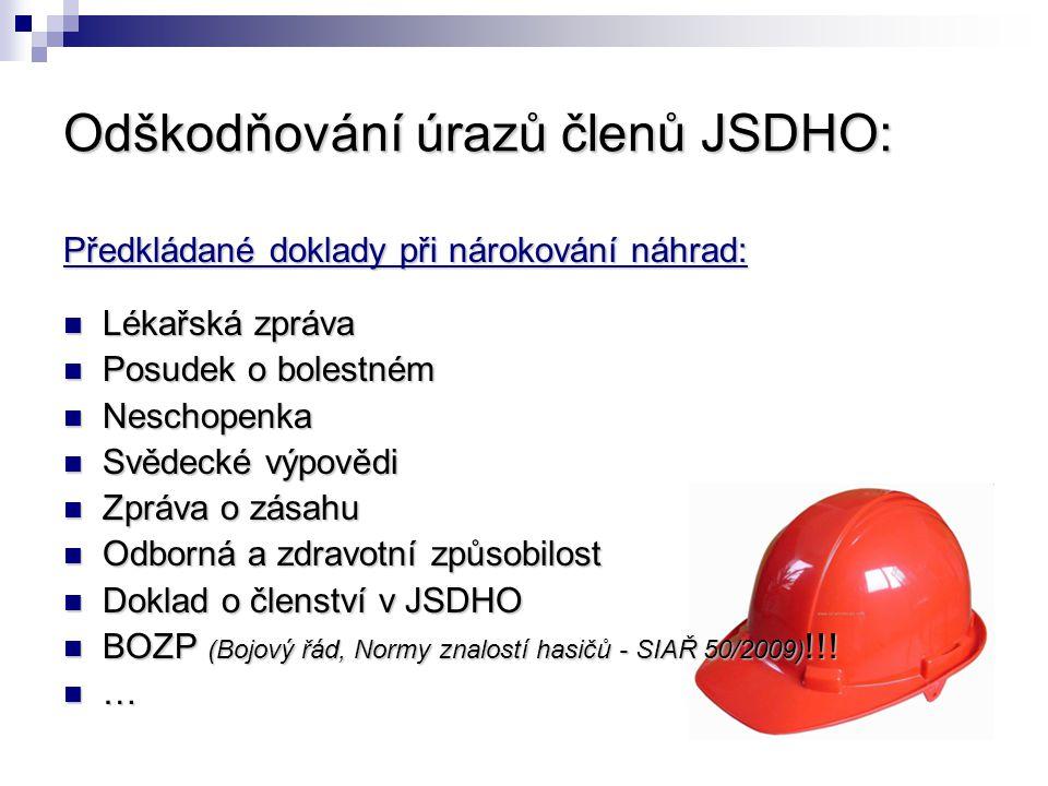 Odškodňování úrazů členů JSDHO: Předkládané doklady při nárokování náhrad: Lékařská zpráva Lékařská zpráva Posudek o bolestném Posudek o bolestném Nes