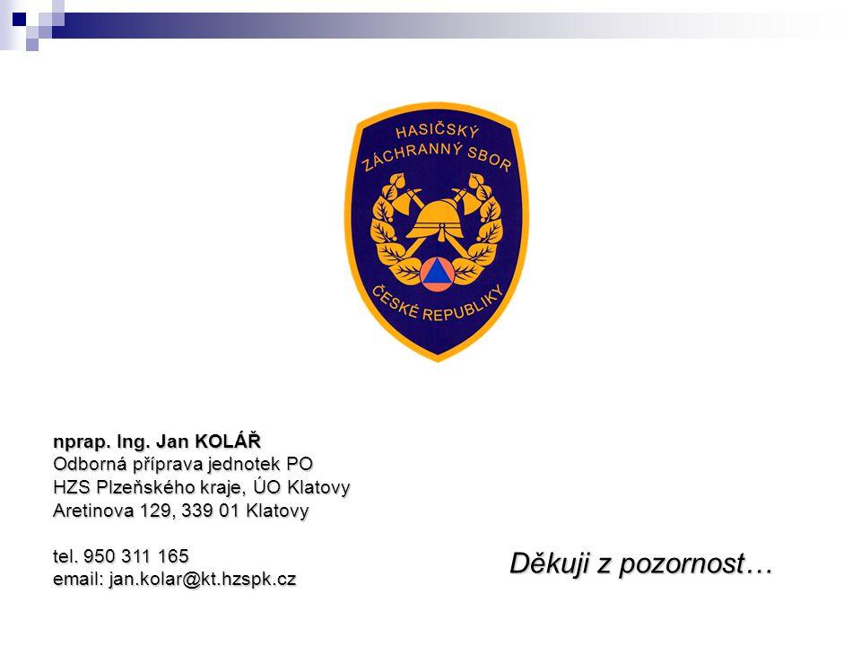 Děkuji z pozornost… nprap. Ing. Jan KOLÁŘ Odborná příprava jednotek PO HZS Plzeňského kraje, ÚO Klatovy Aretinova 129, 339 01 Klatovy tel. 950 311 165