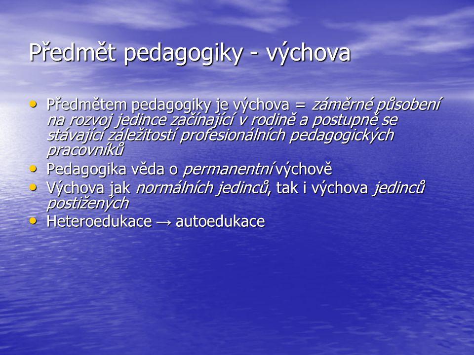 Předmět pedagogiky - výchova Předmětem pedagogiky je výchova = záměrné působení na rozvoj jedince začínající v rodině a postupně se stávající záležito