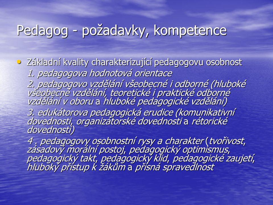 Pedagog - požadavky, kompetence Základní kvality charakterizující pedagogovu osobnost Základní kvality charakterizující pedagogovu osobnost 1. pedagog