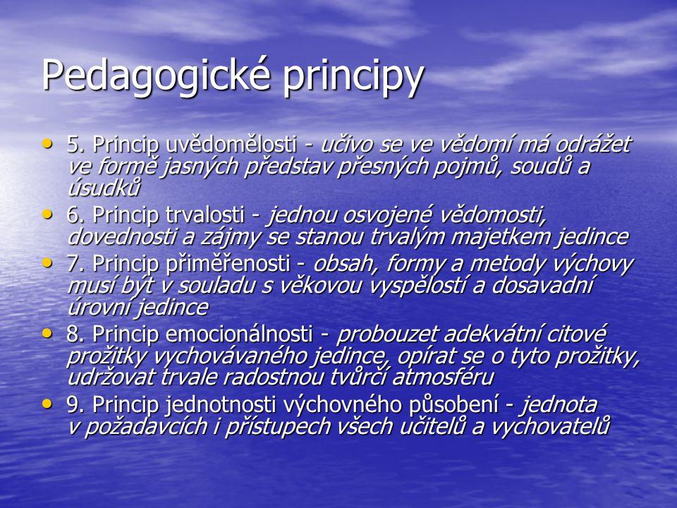 Pedagogické principy 5. Princip uvědomělosti - učivo se ve vědomí má odrážet ve formě jasných představ přesných pojmů, soudů a úsudků 5. Princip uvědo