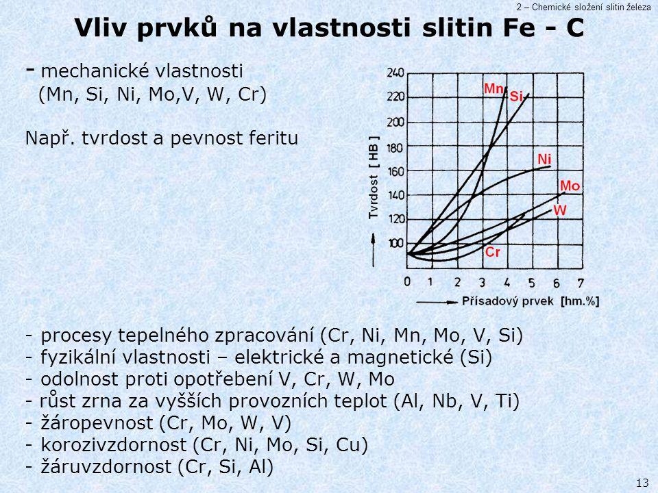 2 – Chemické složení slitin železa 13 Vliv prvků na vlastnosti slitin Fe - C - mechanické vlastnosti (Mn, Si, Ni, Mo,V, W, Cr) Např. tvrdost a pevnost