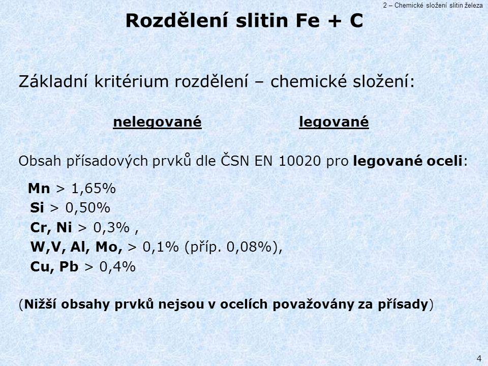 2 – Chemické složení slitin železa 4 Základní kritérium rozdělení – chemické složení: nelegované legované Obsah přísadových prvků dle ČSN EN 10020 pro