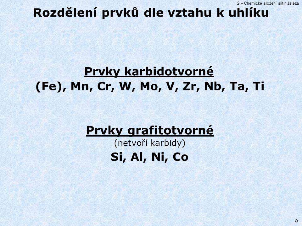 2 – Chemické složení slitin železa 9 Prvky karbidotvorné (Fe), Mn, Cr, W, Mo, V, Zr, Nb, Ta, Ti Prvky grafitotvorné (netvoří karbidy) Si, Al, Ni, Co R