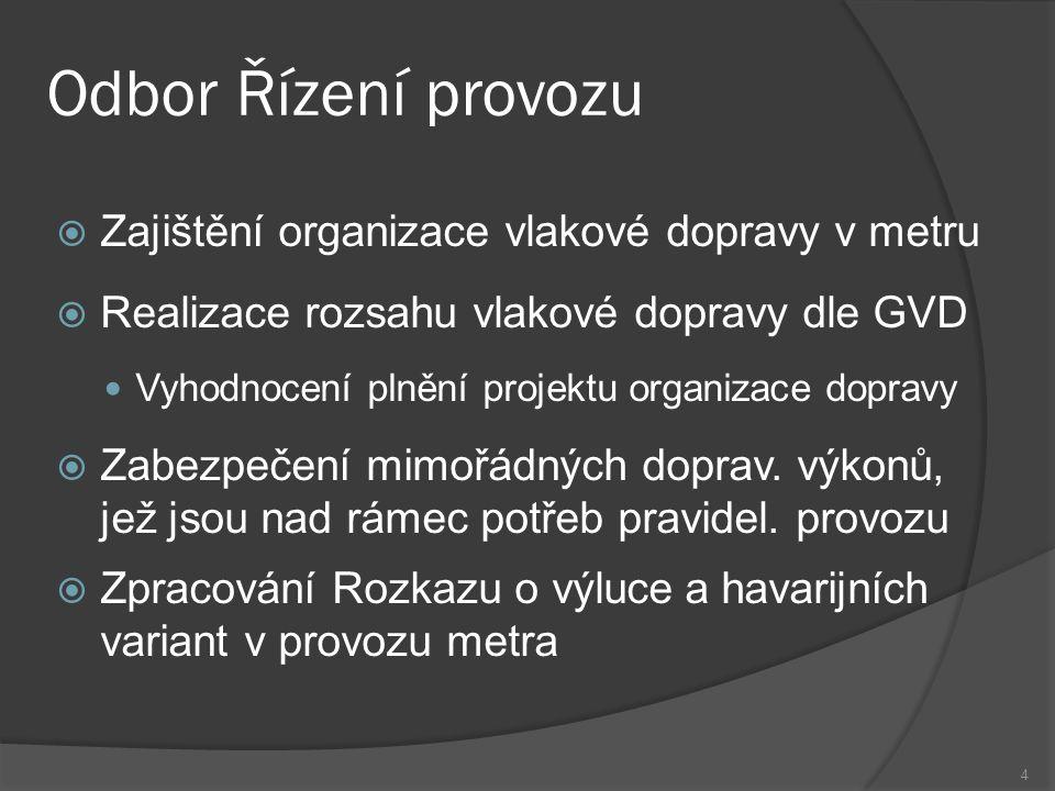 Odbor Řízení provozu  Zajištění organizace vlakové dopravy v metru  Realizace rozsahu vlakové dopravy dle GVD Vyhodnocení plnění projektu organizace