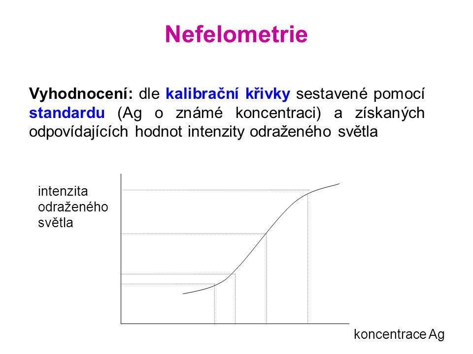 Princip: měří úbytek intenzity světla po jeho průchodu kyvetou obsahující IK Zdroj – Kyveta – Detektor jsou umístěny v jedné přímce: Z →→→→ IK (Ag-Ab) → D Vyhodnocení: dle kalibrační křivky Turbidimetrie