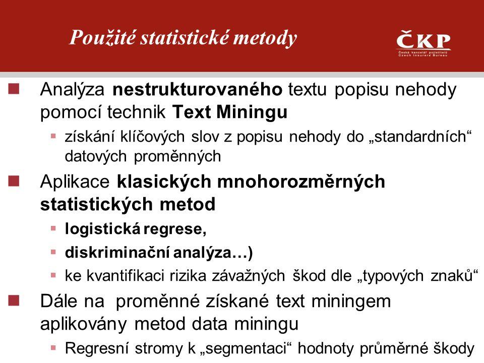 """Analýza nestrukturovaného textu popisu nehody pomocí technik Text Miningu  získání klíčových slov z popisu nehody do """"standardních"""" datových proměnný"""