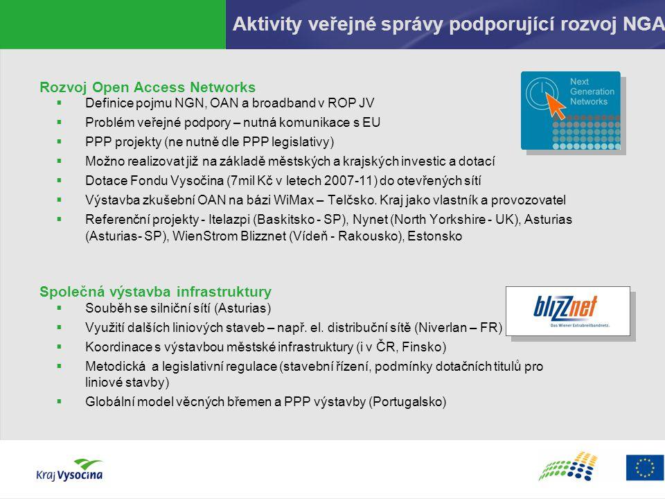 Aktivity veřejné správy podporující rozvoj NGA Rozvoj Open Access Networks  Definice pojmu NGN, OAN a broadband v ROP JV  Problém veřejné podpory –