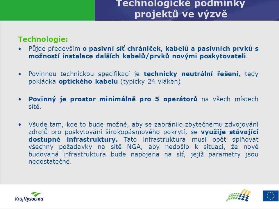 Technologické podmínky projektů ve výzvě Technologie: Půjde především o pasivní síť chrániček, kabelů a pasivních prvků s možností instalace dalších k
