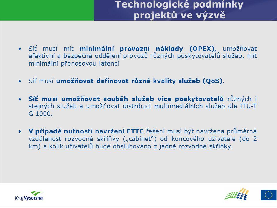 Technologické podmínky projektů ve výzvě Síť musí mít minimální provozní náklady (OPEX), umožňovat efektivní a bezpečné oddělení provozů různých posky