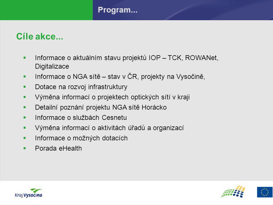 Cíle akce...  Informace o aktuálním stavu projektů IOP – TCK, ROWANet, Digitalizace  Informace o NGA sítě – stav v ČR, projekty na Vysočině,  Dotac