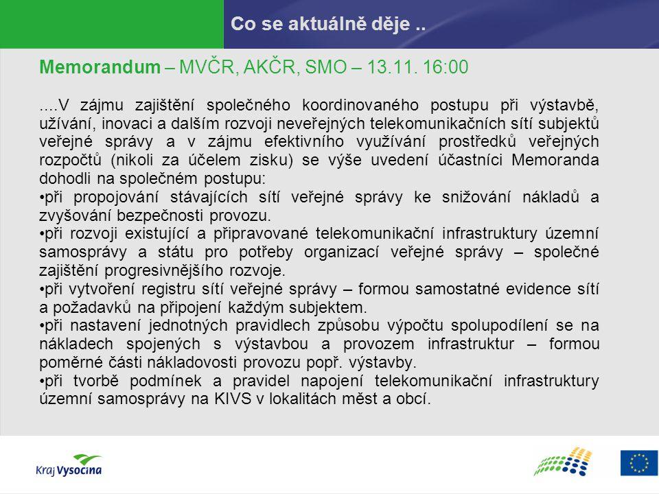 Co se aktuálně děje.. Memorandum – MVČR, AKČR, SMO – 13.11. 16:00....V zájmu zajištění společného koordinovaného postupu při výstavbě, užívání, inovac