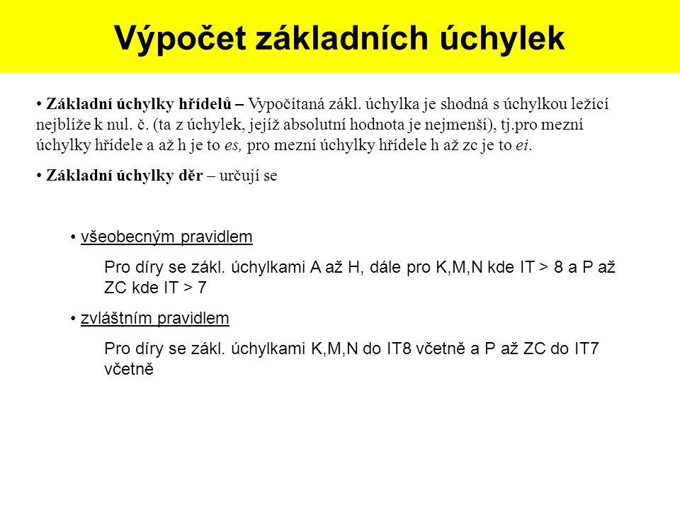 Postup tvorby skicy dle dané součásti: Základní úchylky hřídelů – Vypočítaná zákl. úchylka je shodná s úchylkou ležící nejblíže k nul. č. (ta z úchyle
