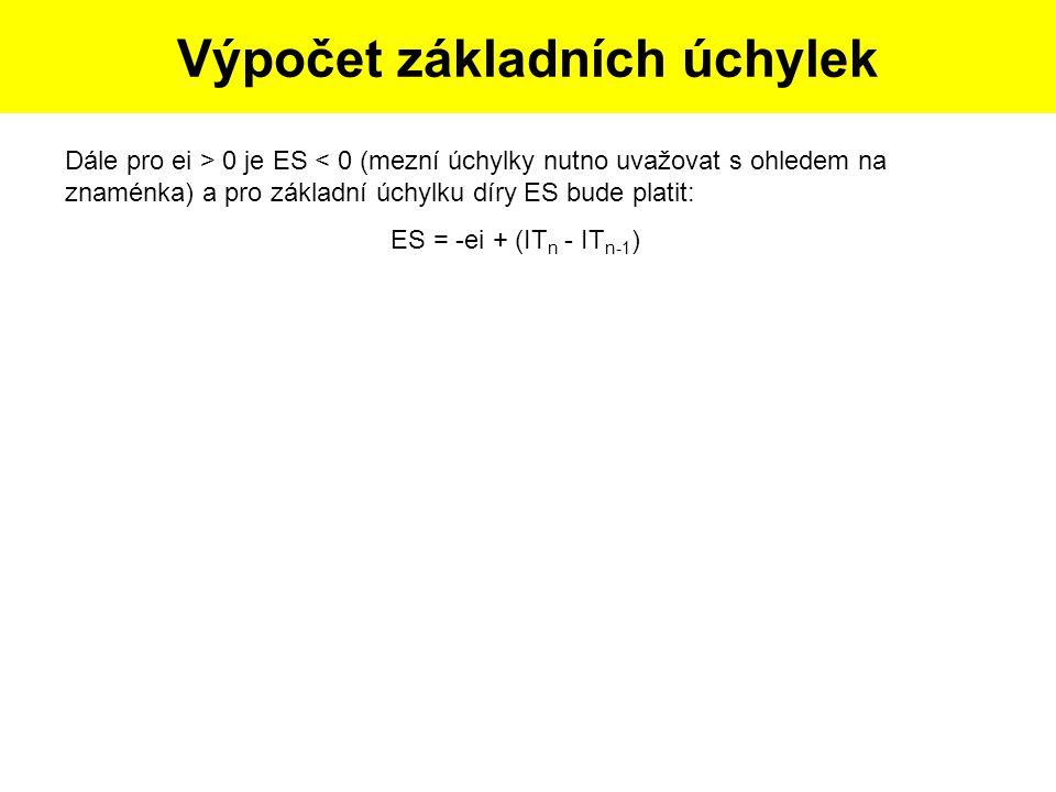 Postup tvorby skicy dle dané součásti: Výpočet základních úchylek Dále pro ei > 0 je ES < 0 (mezní úchylky nutno uvažovat s ohledem na znaménka) a pro