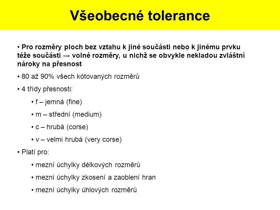 Postup tvorby skicy dle dané součásti: Všeobecné tolerance Pro rozměry ploch bez vztahu k jiné součásti nebo k jinému prvku téže součásti → volné rozm