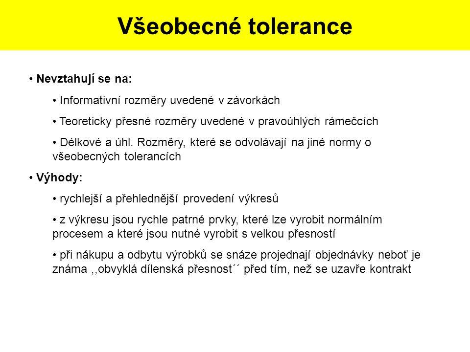 Postup tvorby skicy dle dané součásti: Všeobecné tolerance Nevztahují se na: Informativní rozměry uvedené v závorkách Teoreticky přesné rozměry uveden