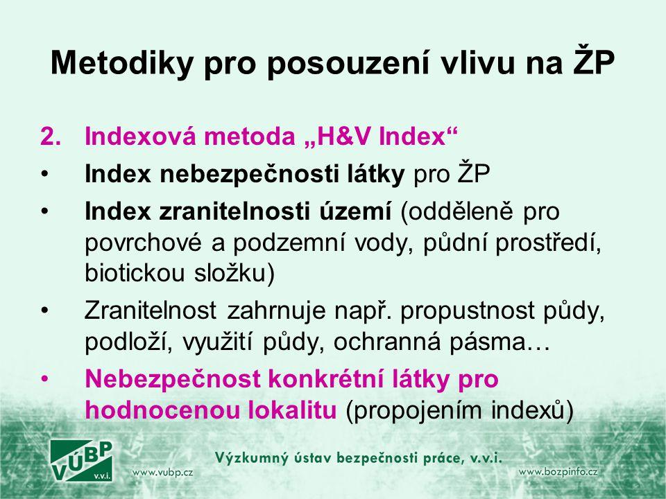 """Metodiky pro posouzení vlivu na ŽP 2.Indexová metoda """"H&V Index Index nebezpečnosti látky pro ŽP Index zranitelnosti území (odděleně pro povrchové a podzemní vody, půdní prostředí, biotickou složku) Zranitelnost zahrnuje např."""