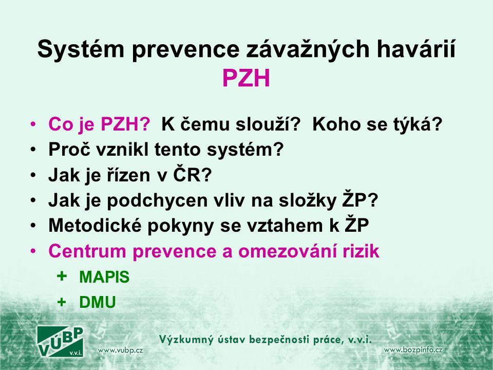Systém prevence závažných havárií PZH Co je PZH.K čemu slouží.