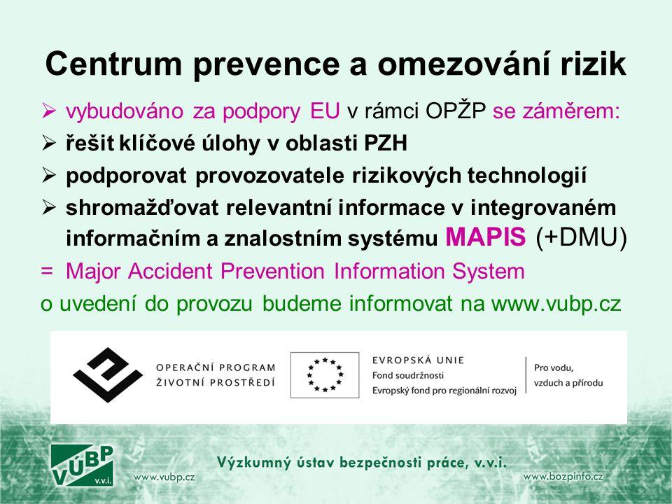 Centrum prevence a omezování rizik  vybudováno za podpory EU v rámci OPŽP se záměrem:  řešit klíčové úlohy v oblasti PZH  podporovat provozovatele rizikových technologií  shromažďovat relevantní informace v integrovaném informačním a znalostním systému MAPIS (+DMU) =Major Accident Prevention Information System o uvedení do provozu budeme informovat na www.vubp.cz