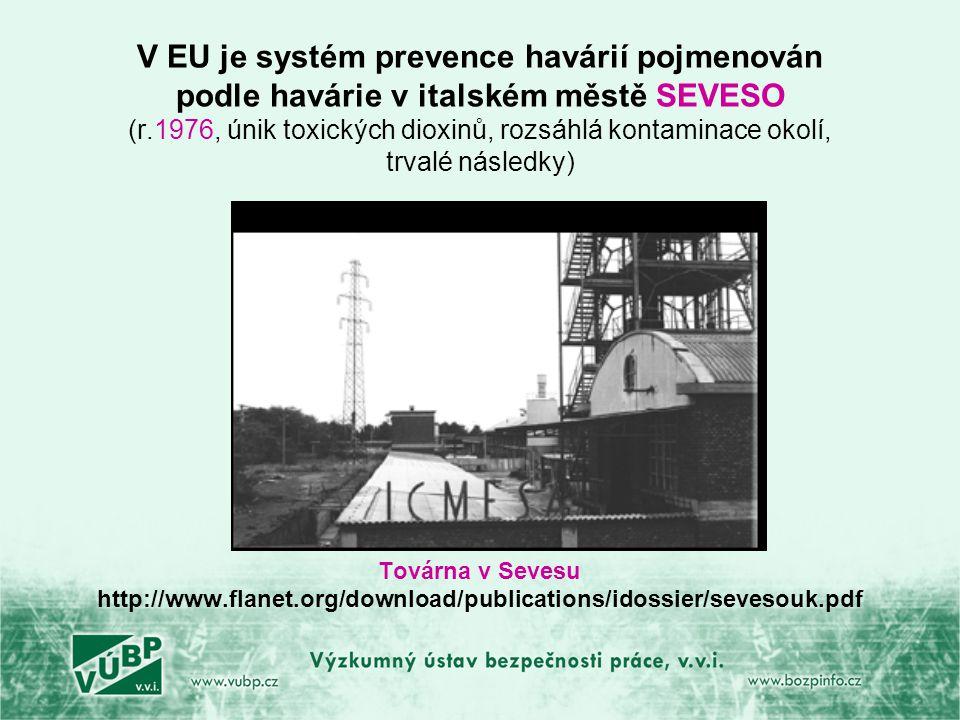V EU je systém prevence havárií pojmenován podle havárie v italském městě SEVESO (r.1976, únik toxických dioxinů, rozsáhlá kontaminace okolí, trvalé následky) Továrna v Sevesu http://www.flanet.org/download/publications/idossier/sevesouk.pdf