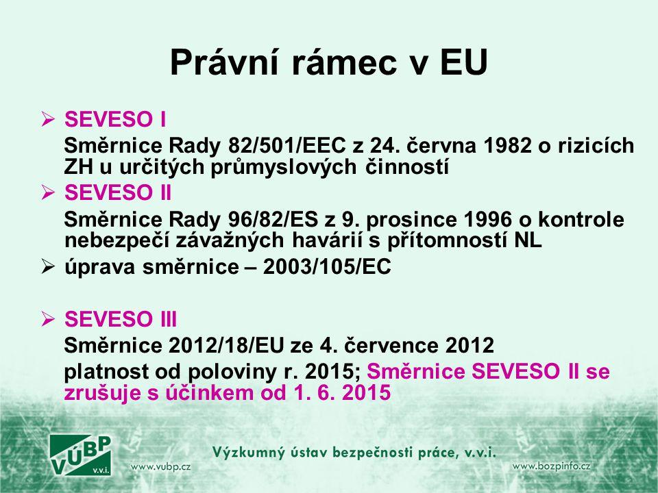 Právní rámec v EU  SEVESO I Směrnice Rady 82/501/EEC z 24.