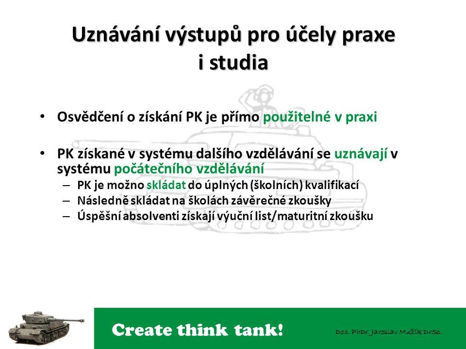 Create think tank! Doc. PhDr. Jaroslav Mužík DrSc. Uznávání výstupů pro účely praxe i studia Osvědčení o získání PK je přímo použitelné v praxi PK zís
