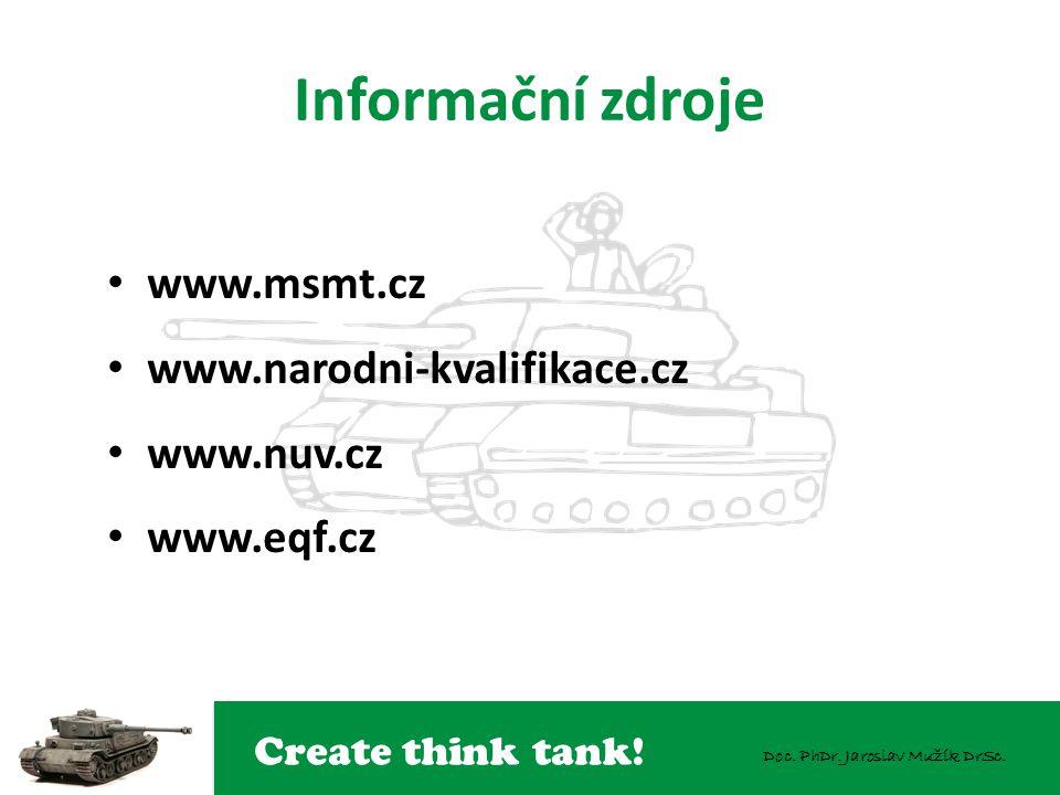 Create think tank! Doc. PhDr. Jaroslav Mužík DrSc. Informační zdroje www.msmt.cz www.narodni-kvalifikace.cz www.nuv.cz www.eqf.cz